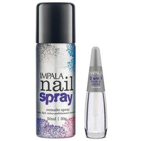 Kit Impala Nail Spray Esmalte Preto 50ml + Base 2 Em 1 Spray