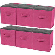 Cajas Almacenaiento De Tela Greenco Cubo Ropa Oficina 6pz