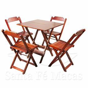 Jogos Conjuntos Mesa Bar Dobrável 70x70 4 Cadeiras Madeira