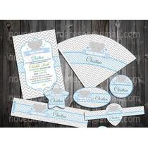 Kit Imprimible Baby Elefante Mesa De Postres Dulces Elegante