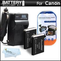2 Batería Y Cargador Kit Para Canon Powershot Sx260 Hs, Sx2