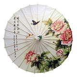 Chino / Estilo Japonés Peonía Flores Sombrilla Paraguas De
