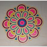 Mandala De Fibro Facil Pintado A Mano Con Acrilico Y Aplique
