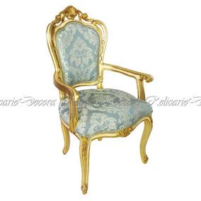 Cadeira De Braço Poltrona Folh. A Ouro Tecido Arabesco
