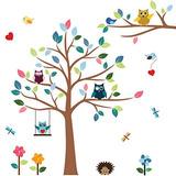 Vinilo De Pared Para Niños Con Búhos Y Arboles-timber Artbox