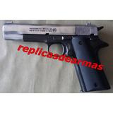 Replica De Pistola Colt 1911 Mix 2 Cachas Madera Mate Fogueo