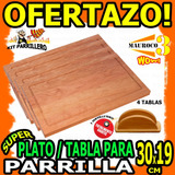 Wow Kit Parrillero 4 Tablas Madera Platos 1 Servilletero