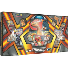 Box Pokémon Charizard-gx Carta Gigante Cards Moeda Broche