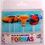 Velas De Cumpleaños Set Carreras De Autos X 5 Unidades