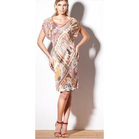 Vestido Feminino Cetim Estampado Laranja Scalon Michele 2710