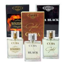 Kit Cuba Gold + Black + Dangerous 100ml Cada Edp