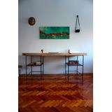 Escritorio De Madera Con Varilla Roscada Reciclada 230x65cm!