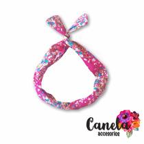 Vincha De Tela Con Alambre Interno Flexible Flores Rosas