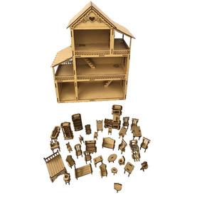 Casa Casinha De Boneca Polly + Kit 36 Mini Móveis Mdf Cru