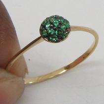 0932 Anel De Ouro 18k 750 Rpw Com Micro Zirconias Esmeralda