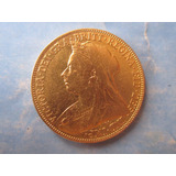 Moneda De Oro Libra Inglesa Soberano Victoria 22 Kilates Año