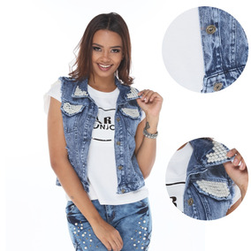 Colete Jeans Destroyed C/perola Curto C/bolso Top 2018