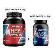 Whey Protein 3 Kg ( Proteína Pura ) + Ganador De Peso 1,5 Kg ( Mass Gainer ). Body Advance.