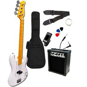 Kit Bajo Electrico 4 Cuerdas Amplificador Funda Afinador Y !