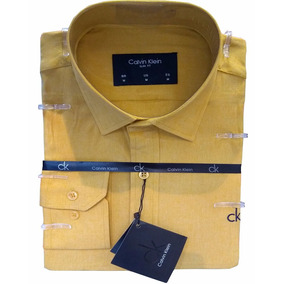 Camisa Social Slim Fit M.longa C.klein Bege Com Elastano Kw