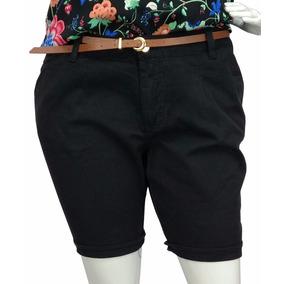 Bermuda Sarja Plus Size Feminina Social Preta