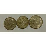 Lote De 3 Monedas Medio Dólar Kennedy 1964 Ley 0.900