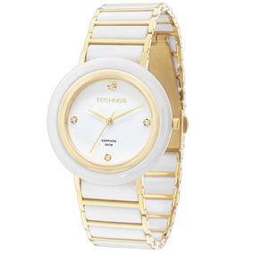0da23093e0e16 4b Rel Gio Technos Ceramic Sapphire Branco Dourado 2036lnd ...