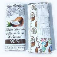 Tableta De Chocolate 90% Cacao Africano Con Coco . Edicion L