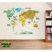Vinilo Decorativo Mapa Mundi Infantil