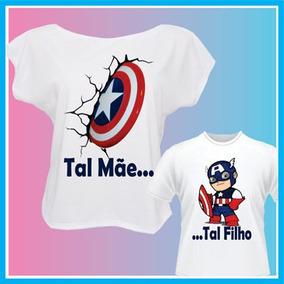 Kit Blusa Tal Mãe Tal Filho Capitão América, Camiseta Femini