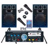 Combo Bafles + Cabezal Usb Sd Fm 4 Canales 200w 2mic Karaoke
