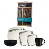 Combo Vajilla Corona Dark-mug 4/20+jgo Cubiertos 24 Pz Negro