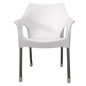 Sillón Silla Zafiro Pvc Y Caño C/apoyabrazos Color Blanco