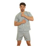 Pijama Hombre Camisero Manga Corta Pantalon Bermuda