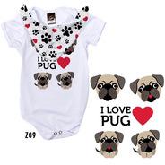 Body De Bebê Com Babador Estampa Frase I Love Pug Z09