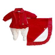 Saída Maternidade Menina Poá Vermelho Maxi Baby