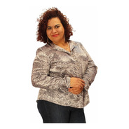 Camisa Boho Estampada Cetim Onça Plus Size (do 46 Ao 56)