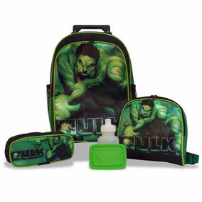Kit Hulk Mochila Rodinhas, Lancheira, Estojo Escolar
