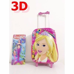 Mochila Escolar Infantil C / Rodinhas Barbie Princesa 3d