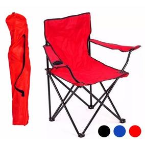 Silla Plegable De Playa Reforzada Azul Y Rojo Hasta 110 Kg