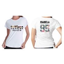 Camiseta Camisa Kpop Personalizada Grupo Bts Com Nome Flor 8