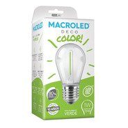 Macroled Lampara Led Deco Color Verde Gota 1w S14 E27