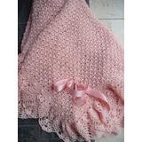 Pañoleta- Mantita- De Lana Rosa Pálido Tejido Crochet A Mano
