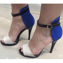 Sandalia Salto Alto Fino Calcanhar Traseira Fechada Azul