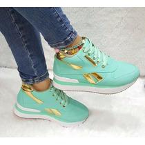 Zapato Bota Botín Tacón Interno Verde Dorado Moda Dama