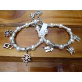 Pulseras De Perlas Y Dijes Acrílico X2 - Ideal Nenas