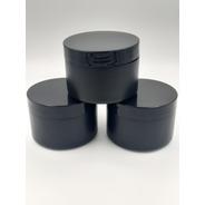 12 Potes Plásticos Vazios P/ Creme/pomada 250g Preto Liso