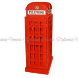 Cabine Telefonica Decorativa Vermelha Fino Acabamento Real