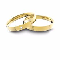 Alianças De Ouro 18k Anatômica Com Diamante (3.5 Mm Largura)