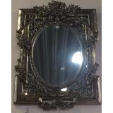 Espelho Clássico Luis Xv Com Moldura Prata Envelhecida